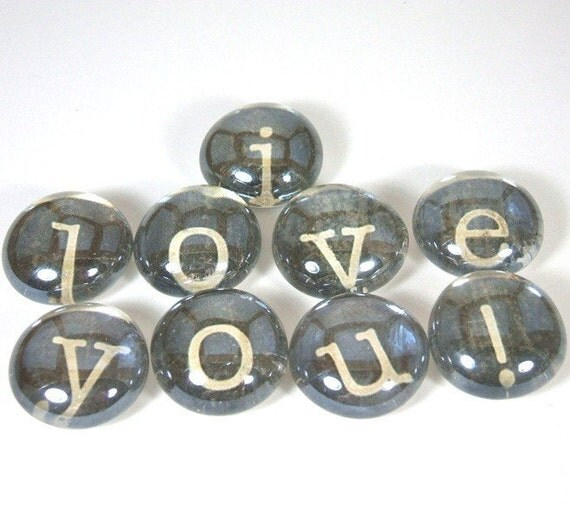 Marble Magnets or Push Pins Set -  I love you