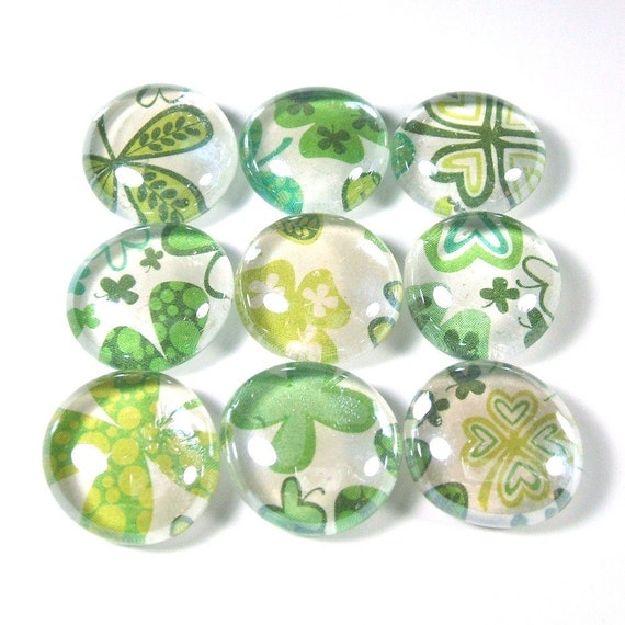 Marble Magnets or Push Pins Set - Four Leaf Clovers