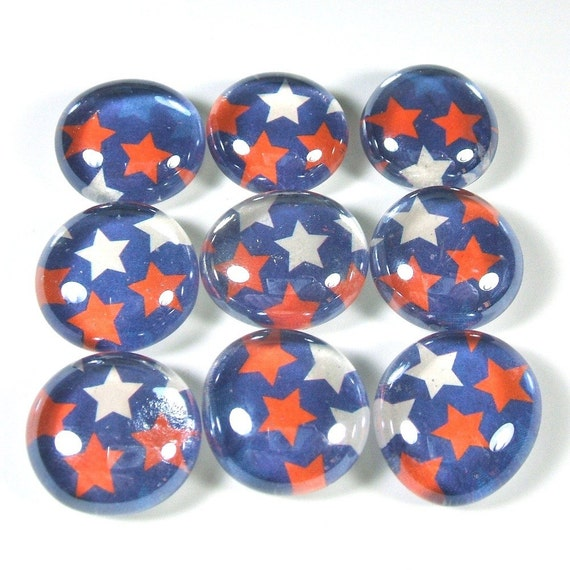 Marble Magnets or Push Pins Set - Lucky Stars