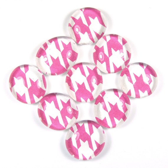 Fridge Glass Marble Magnets or Push Pins Set - Pink Houndstooth