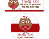 Red & white Cotton Candy Owl-- address label or shop or name stickers-- this listing is for MATTE stickers