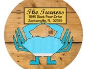 BLUE CRAB address labels or name stickers -- several sizes-- this listing is for GLOSSY stickers