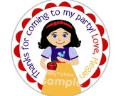 Lil' Miss Snow White-- address labels or party or name stickers-- this listing is for MATTE stickers