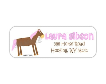 Happy Horse-- return address labels, quantity of 30--- this listing is for MATTE stickers