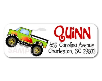 MONSTER Truck-- return address labels--quantity of 30---this listing is for MATTE stickers