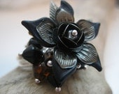 Blackest Of Blooms Flower Ring