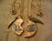 Religious Mizpah Angel Wing Necklace Set Best Friend Mother Daughter or Sisters