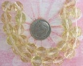 Vintage Glass Facetted Beads 1930's German Rounds In Citrine Yellow (25 pc)