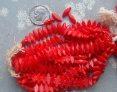 1920's Vintage Glass Nailheads - 2 Hole Marquis Sew Ons in Cherry Red - 24 Beads