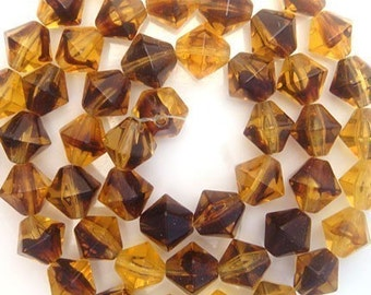 Vintage German Glass Bicone Beads - 25  Pieces - Tortoise Amber Brown