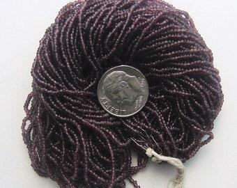 Size 14/0 - 18/0 Antique Seed Beads - Transparent Dark Purple Exra Large Hank