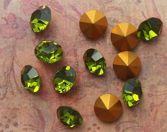 Vintage Swarovski Pointback Rhinestones  ss48 Olivine  Austrian Lead Crystal Chatons (choose 6 pc or 12 pc)