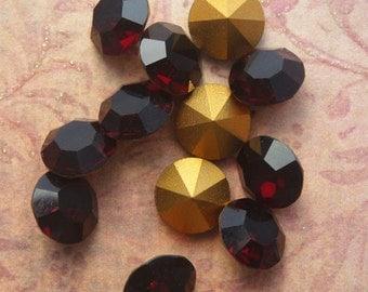 Vintage Swarovski Pointback Rhinestones ss48 Garnet Austrian Lead Crystal Chatons (choose 6 pc or 12 pc)