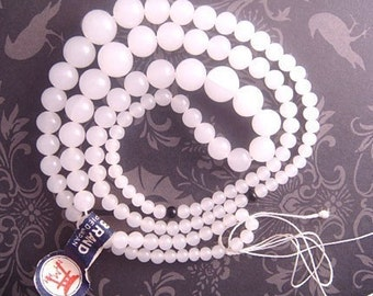 "Vintage Japanese Glass Beads - Translucent Alabaster White, Round Beads 19.5"" Strand Graduated from 3mm up to 8mm - Torii Brand"
