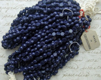 Vintage Glass Nailhead or Sew on Beads - 4mm Navy Blue  (24 pc)