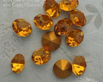 Vintage Czech Rhinestones ss47 Topaz Optima Preciosa Pointback Chatons With Gold Foil (choose 6 pc or 12 pc)
