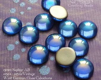 Vintage Cabochons - 13 mm Sapphire AB - 6 West German Glass Stones