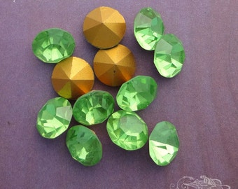 Vintage Czech Rhinestones ss47 Peridot Optima Preciosa Pointback Chatons With Gold Foil (choose 6 pc or 12 pc)