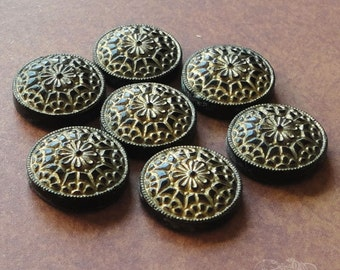 Vintage Glass Cabochons 13 mm Round Black And Gold Deco Design (choose 2 pc or 4 pc)
