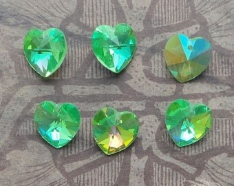 6 Swarovski Heart Pendant Beads - Art 6202 Corona 10mm Peridot AB