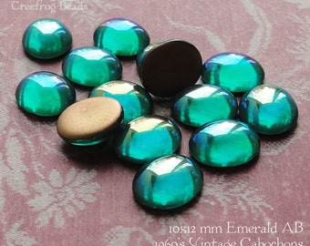 Vintage Cabochons - 10x12 mm Emerald AB - 6 West German Glass Stones