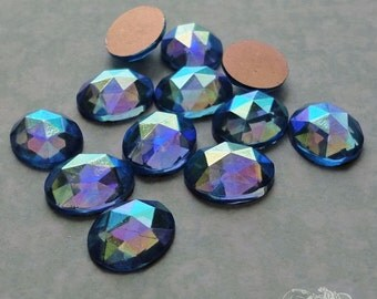 Vintage Cabochons -  10x12 mm Facet Sapphire AB - 6 West German Faceted Glass Stones
