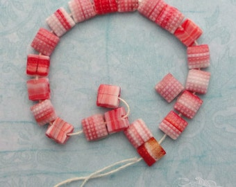 Vintage Glass Sew Ons Flatback Beads - 5mm Striped Red and White Squares - Candy Cane Stripes  (24 pc)