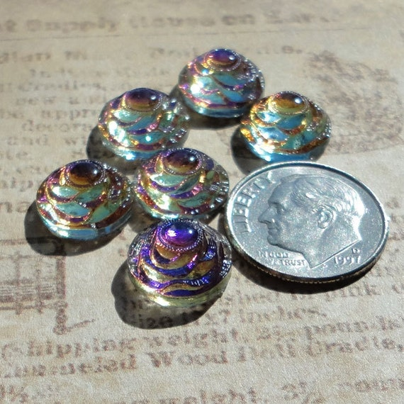 6 Vintage Cabochons - Brilliant AB Glass Roses In Purple And Amber - 10mm