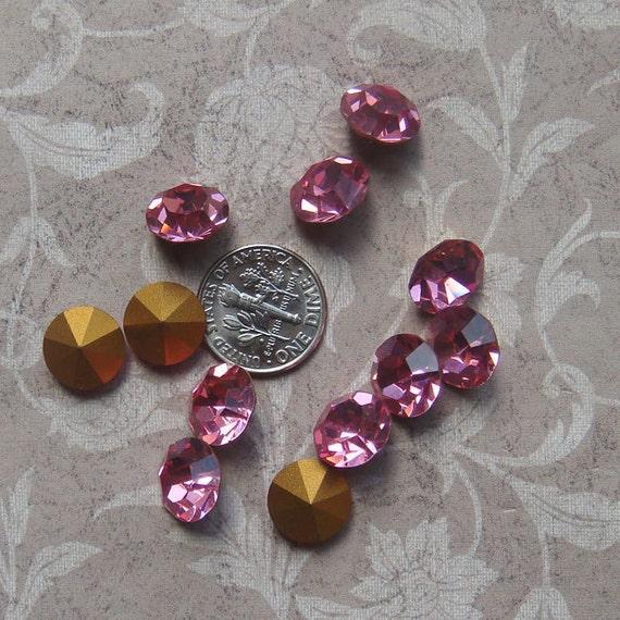 36 Vintage Swarovski Pointback Chaton Rhinestones - ss48 Rose - Approximately 11mm