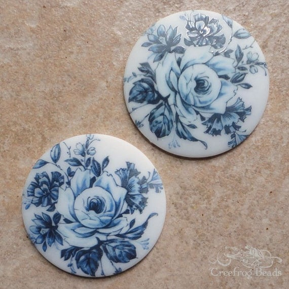 Vintage Glass Floral Cabochons - 50 mm Round Flower Decal Cab - Large Blue Rose on White