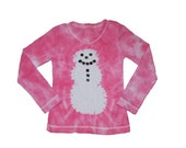 Snowman Shirt in Shades of Pink Tie Dye- Girls and Adults Sizes Available