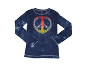 Peace Sign Shirt for Girls in Navy with a Tie Dye Rainbow Peace Sign