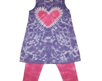 Tie Dye Set for Girls in Lavender with a Hot Pink Heart