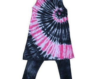 Tie Dye Black and Hot Pink Spiral Tie Dye Tunic and Leggings Set for Girls