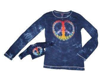 Matching Girl and Doll Navy with a Rainbow Peace Sign Tie Dye Shirt Set- Fits 15 to 18 inch dolls