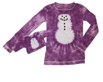 Matching Girl and Doll Purple Tie Dye Snowman Shirt Set-fits 18 and 15 Inch Dolls