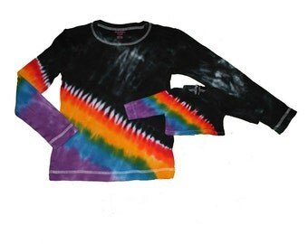 Matching Girl and Doll Unique Black with a Rainbow Tie Dye Shirt Set- Fits 15 to 18 Inch Dolls