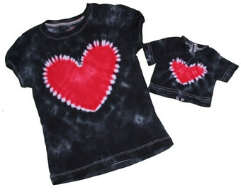 Matching Girl and Doll Black with a Red Heart Tie Dye Shirt Set- Fits 18 and 15 inch dolls