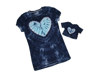 Matching Girl and Doll Navy with a Light Blue Heart Tie Dye Shirt Set- Fits 18 and 15 inch dolls