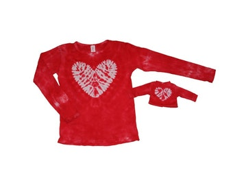 Matching girl and doll red with a white heart tie dye shirt set- Fits 18 and 15 Inch Dolls
