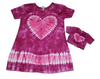 Matching Girl and Doll Magenta with a Hot Pink Short Sleeve TIe Dye Dress Set- Fits 15 and 18 Inch Dolls