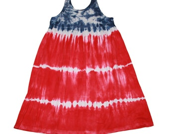 4th of July Dress for Girls in Red, White and Blue Tie Dye