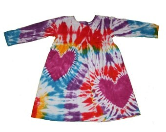 Tie Dye Dress in Rainbow Lovers Long Sleeve Dress for Girls