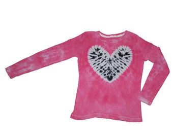 Tie Dye Shirt in Hot Pink with a Zebra Heart- Girls and Adult Sizes Available