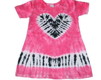 Tie Dye Dress in Hot Pink with a Zebra Heart