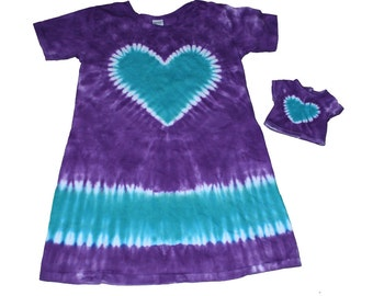 Matching Girl and Doll Purple with an Aqua Heart Short Sleeve TIe Dye Dress Set- Fits 18 and 15 Inch Dolls