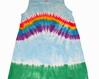 Rainbow Dress in  Light Blue with a Rainbow Tie Dye- cool and fun for spring and summer