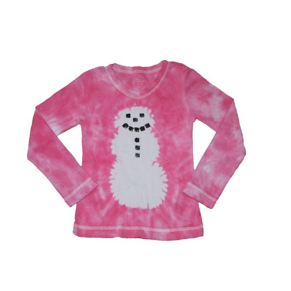 Tie Dye Hot Pink Snowman Shirt for Girls- Girls size 10 and ready to ship