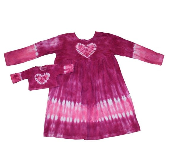 Matching Girl and Doll Magenta and Hot Pink Tie Dye Heart Dress and Shirt Set- Fits 18 and 15 Inch Dolls