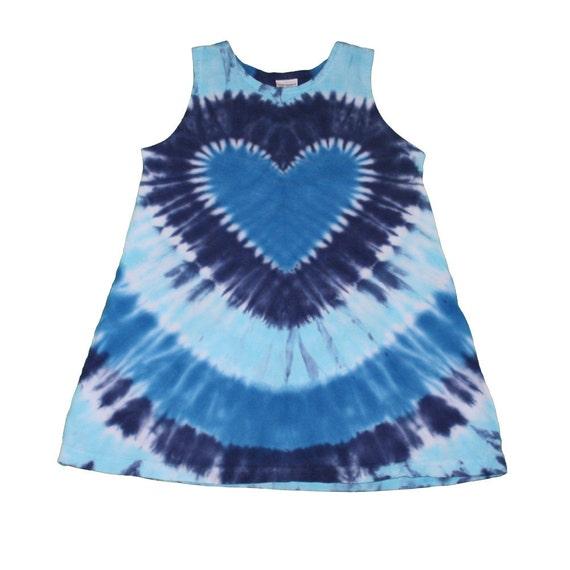 Girls Tie Dye Heart Tunic in Blues